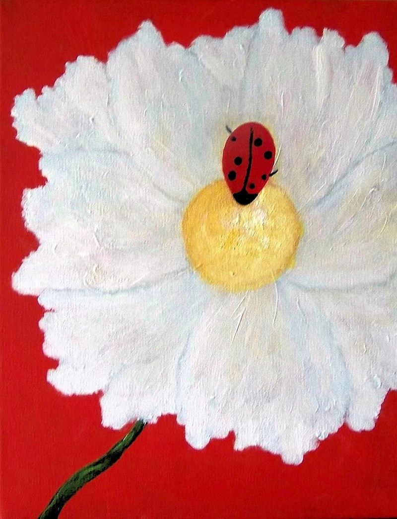 "A certain cheezpeep who spends a lot of her time under thecomfeesofa .Like most paintings I do, I get my ideas from my friends. This is an 11x14"" stretched canvas. This is Ladybug in Love."