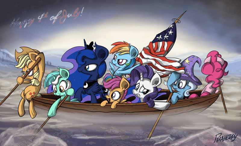 applejack,the great and powerful trixie,lyra heartstrings,washington crossing the delaware,pinkie pie,princess luna,rarity,fourth of july,Scootaloo,rainbow dash