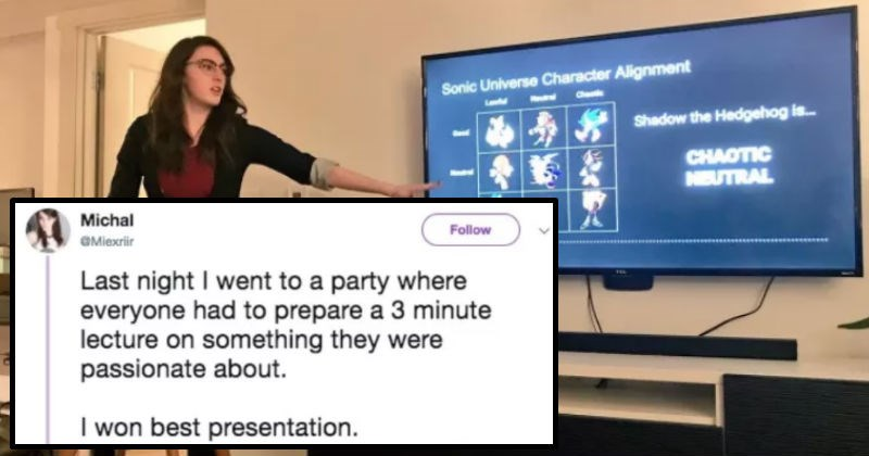 party where guests do a presentation, powerpoint party, woman does presentation about sonic universe character alignments