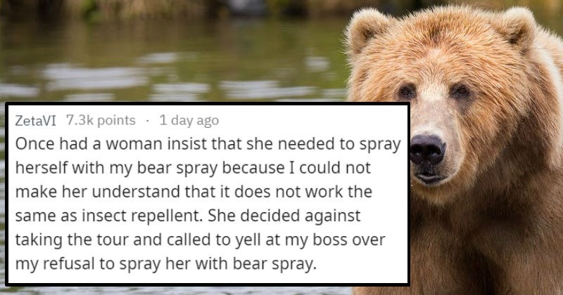 stupid things tourists ask, tour guide stories, tourist asking to be sprayed with bear spray