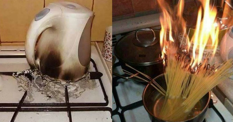failed cooking attempts, pasta burning, electric pot on a stove
