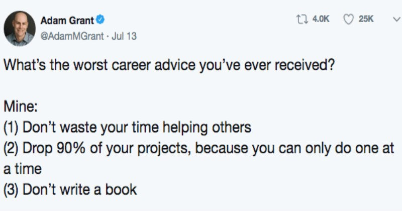 bad career advice like not helping others and only focusing on one project at a time