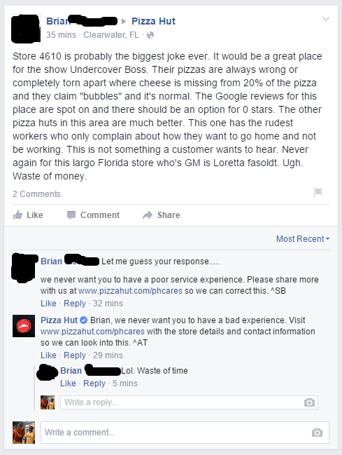 customer service,pizza hut,failbook,facebook