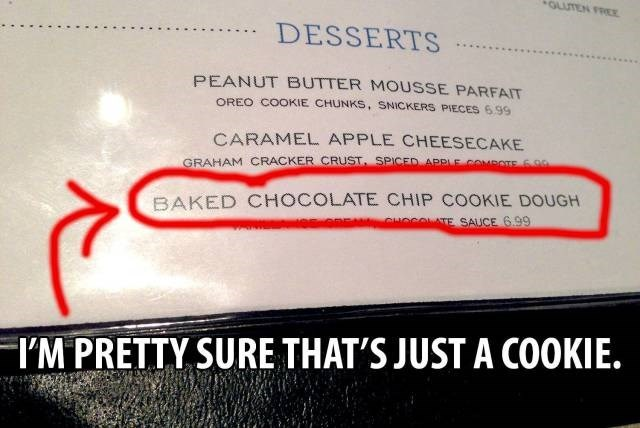 menu FAIL duh food cookies