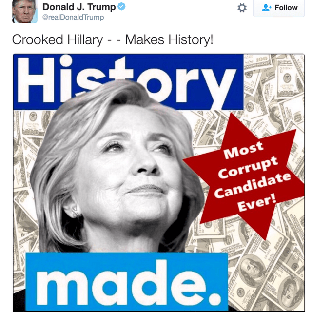 Text - Donald J. Trump @realDonaldTrump Follow Crooked Hillary - - Makes History! History c Most Corrupt Candidate Ever! made.