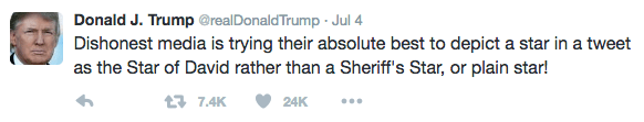 Text - Donald J. Trump @realDonald Trump Jul 4 Dishonest media is trying their absolute best to depict a star in a tweet as the Star of David rather than a Sheriff's Star, or plain star! 17.4K 24K