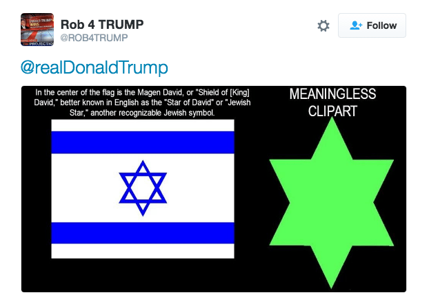 """Text - Rob 4 TRUMP Follow @ROB4TRUMP PROJEGTO @realDonaldTrump MEANINGLESS In the center of the flag is the Magen David, or """"Shield of [Kingl David,"""" better known in English as the """"Star of David"""" or """"Jewish Star,"""" another recognizable Jewish symbol. CLIPART"""