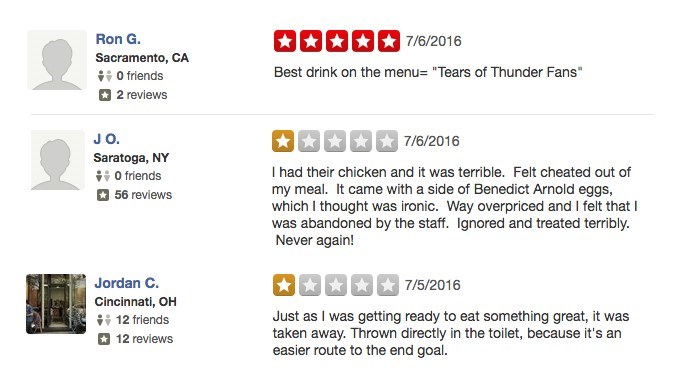"""Text - 7/6/2016 Ron G. Sacramento, CA O friends Best drink on the menu- """"Tears of Thunder Fans"""" 2 reviews JO. 7/6/2016 Saratoga, NY 0 friends 56 reviews I had their chicken and it was terrible. Felt cheated out of my meal. It came with a side of Benedict Arnold eggs, which I thought was ironic. Way overpriced and I felt that was abandoned by the staff. Ignored and treated terribly. Never again! Jordan C. 7/5/2016 Cincinnati, OH 12 friends Just as I was getting ready to eat something great, it wa"""