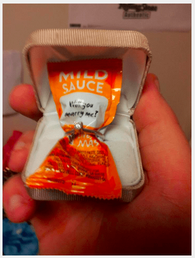 Orange - MILD SAUCE Wetd sou Marry me? WAS