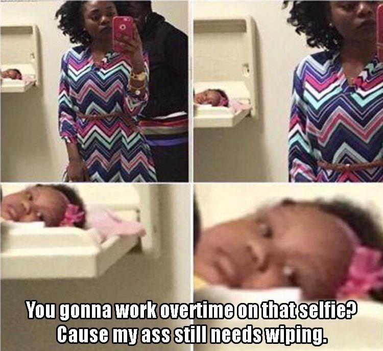Babies diapers parenting Memes selfie - 8819480832
