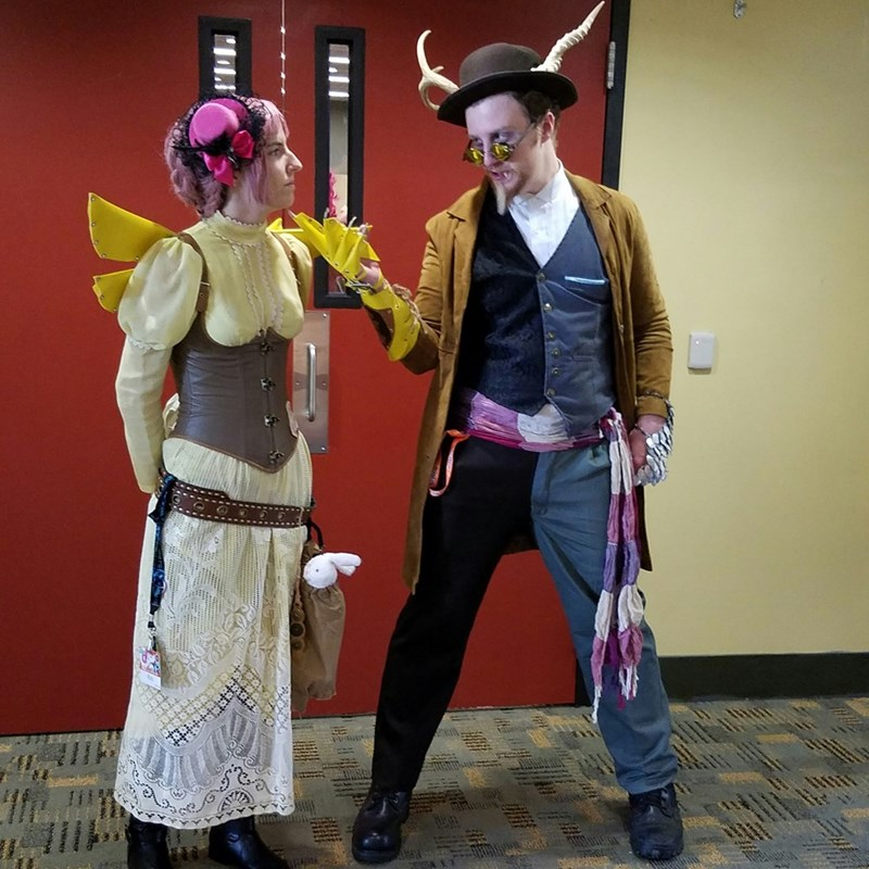 steampunk discord and fluttershy at brony con