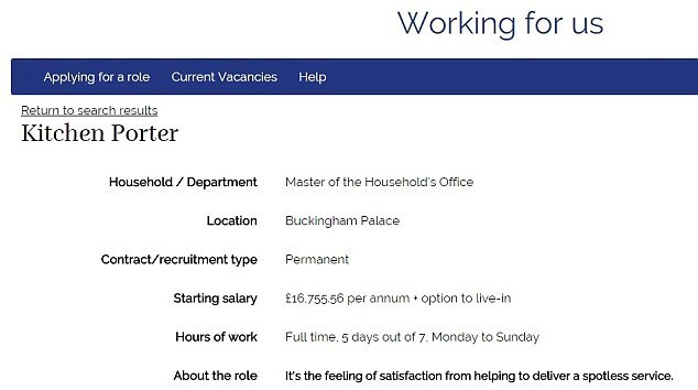 buckingham palace job the queen traveling pot washer - 8820354560