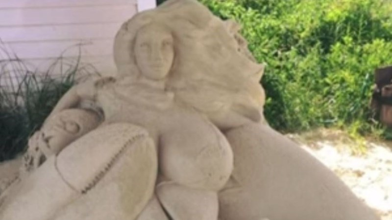 Mermaid sand sculpture with big boobs causes predictable controversy in Yarmouth, Massachusetts