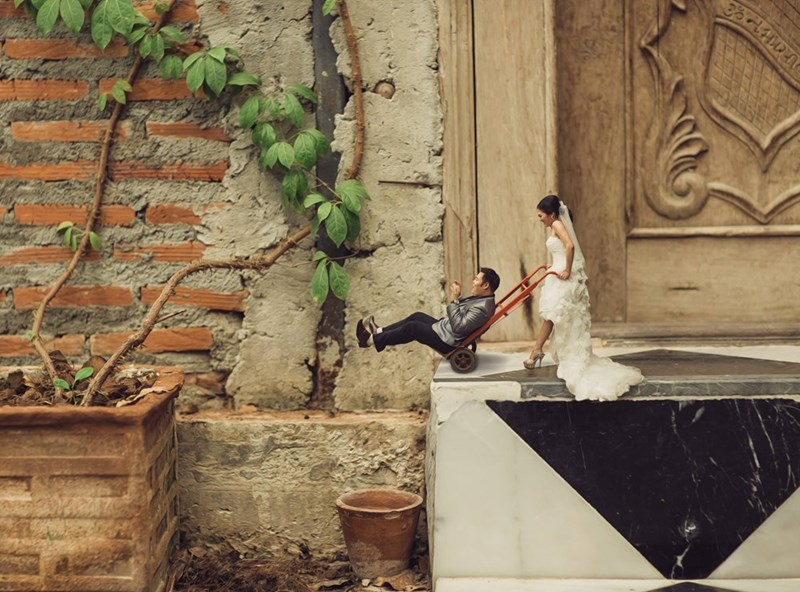 shrunken wedding photos - Wall