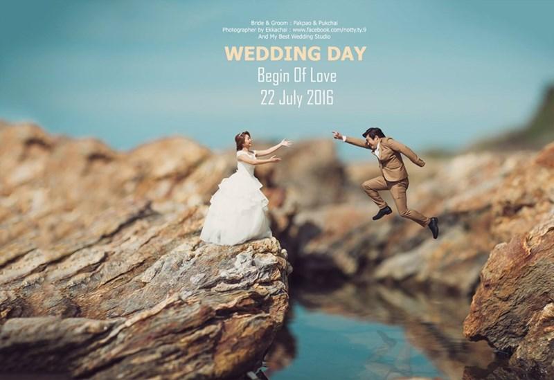 shrunken wedding photos - Water - Bride & Groom : Pakpao & Pukchai Photographer by Ekkachai : www.facebook.com/notty.ty.9 And My Best Wedding Studio WEDDING DAY Begin Df Love 22 July 2016