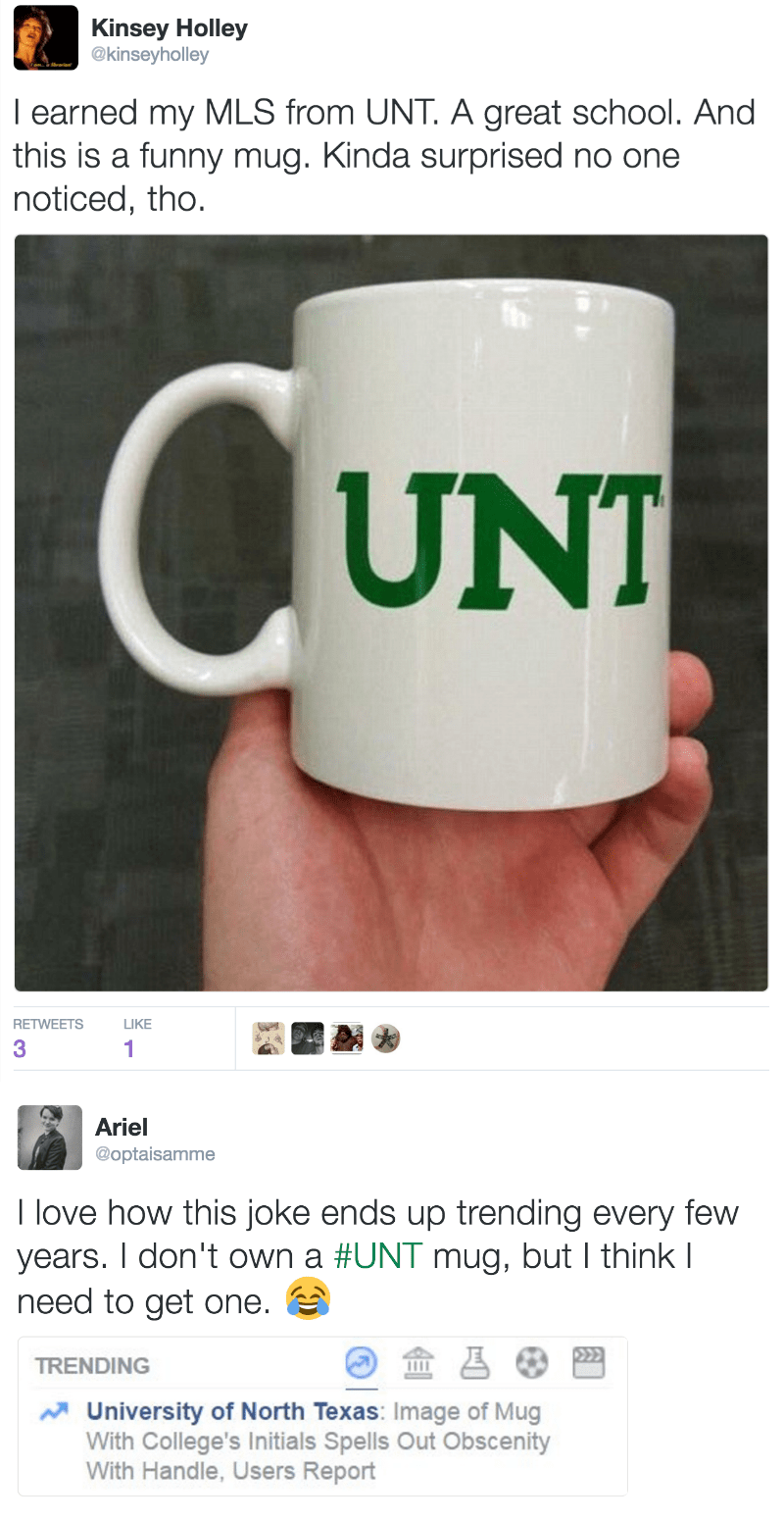 funny fail image University of North Texas C-U-N-T mug