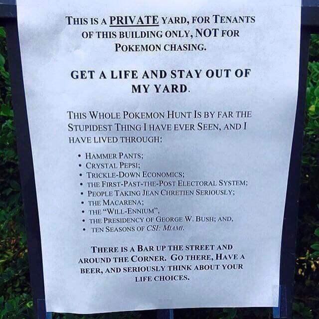 Damn Kids, Get Your Pokémon Off My Lawn!