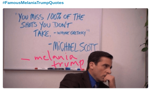 Trump meme about Melania quoting Michael Scott
