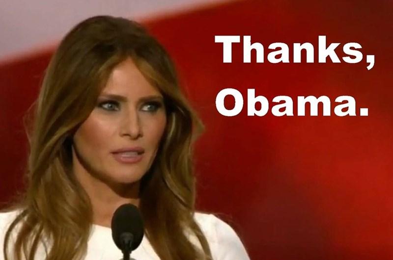 Trump meme about Melania thanking Obama