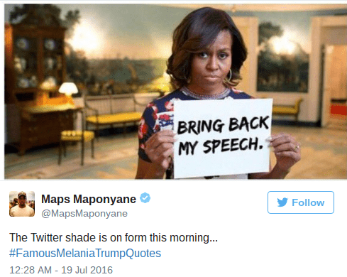 Trump meme with Michelle Obama wanting her speech back from Melania