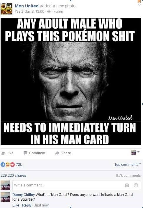 Pokémon,pokemon go,man card,facebook