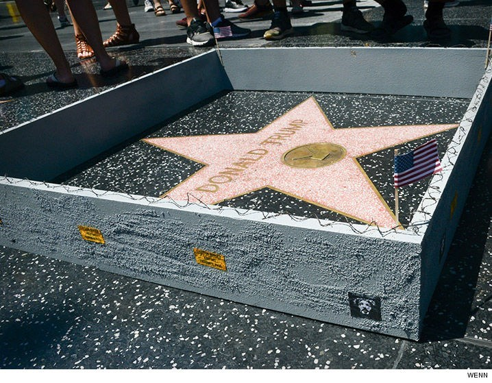 image donald trump prnak Donald Trump Got His Very Own Border Wall Around His Star on the Hollywood Walk of Fame