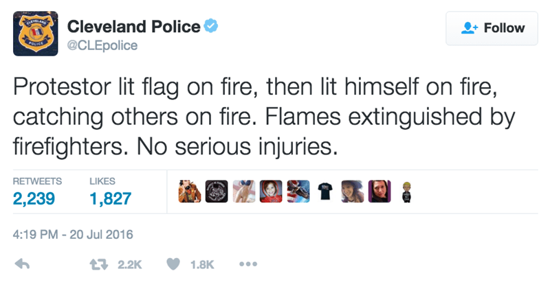 funny fail image Cleveland Police report protestor lit american flag and self on fire