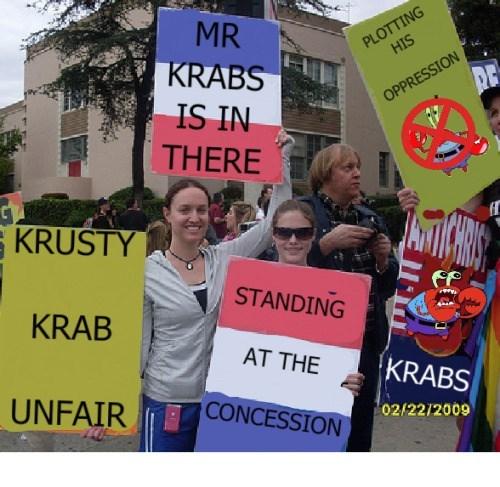 image spongebob squarepants protest Protesters