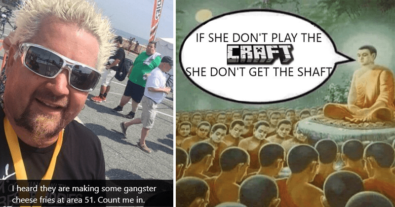 Funny dank memes about Area 51, Guy Fieri, Minecraft, Thanos, and vaccinations.