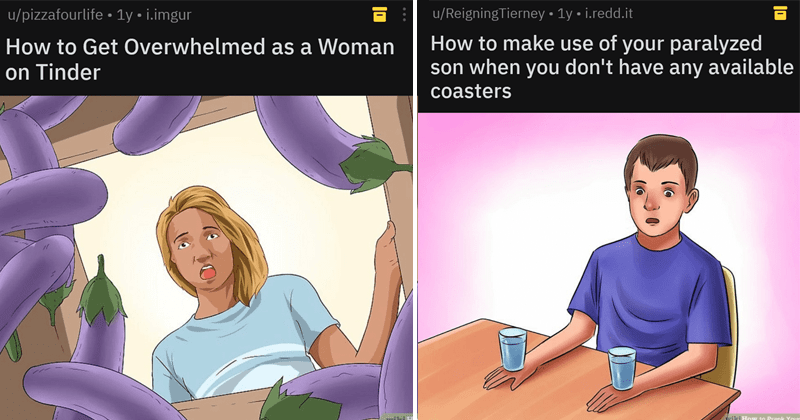 Spicy and dank WikiHow memes, dark humor, anti-vaxxers, offensive memes | wikihow illustration of couple crying over a grave elebrate unvaccinated child's 5th birthday. woman offering another woman a stack of money bills turn friend into lesbian.