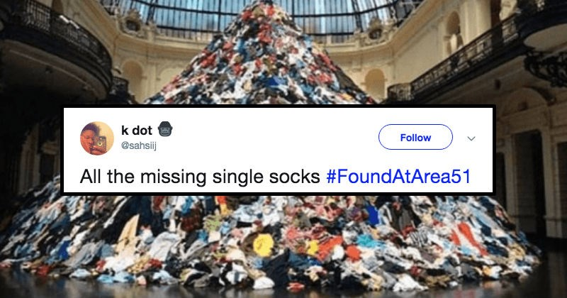 huge mountain made of all the single socks that went missing