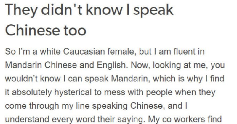 chinese customer speaks rudely to woman who turns out to speak chinese