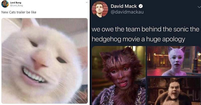 "Funny reaction memes to the new ""Cats"" trailer"
