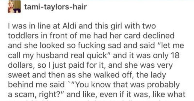tumblr thread about doing good and helping people