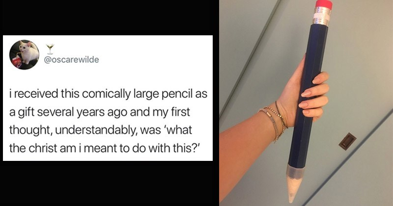 Funny Twitter thread about a girl who lends out a large pencil to students in her college classes