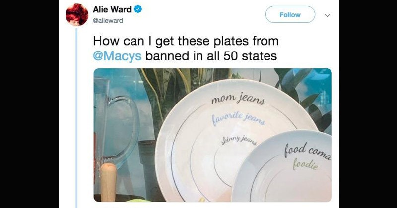 "Tweets about the ""portion plates"" that were sold at Macy's"