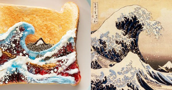 artists,food art,art,Van Gogh,bread,toast,food,win