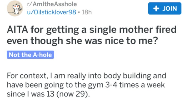 Woman asks people on Reddit if she's a jerk for getting a personal trainer fired after discovering that she takes people of obese people training at the gym.