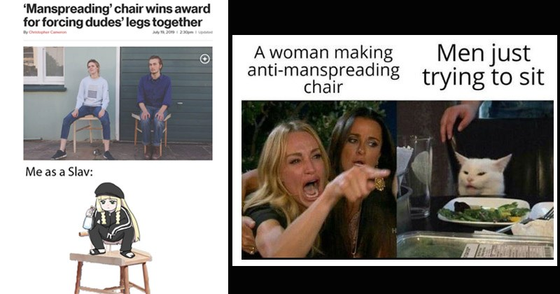 Funny memes about the 'Manspreading Chair'