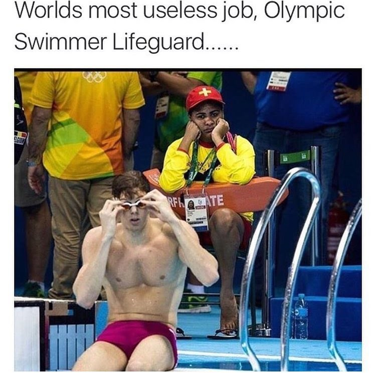 This Lifeguard Has the Most Useless Job at the Olympics and the Internet Can't Get Enough of the Irony