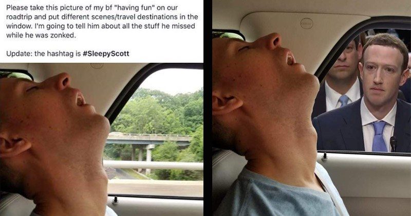 Funny photoshopped pictures of a guy sleeping in a car
