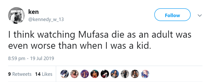 tweet about mufasa's death