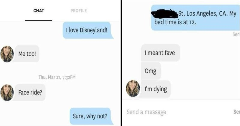 awkward misunderstanding about disney rides during a chat on tinder