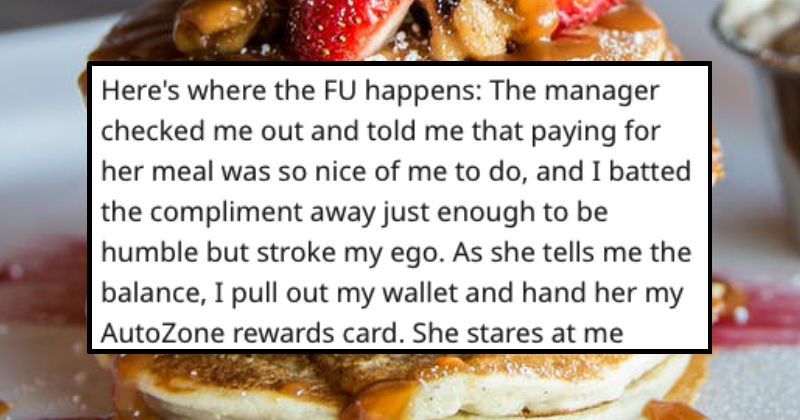 guy offers to pay for someone's meal but forgets his card