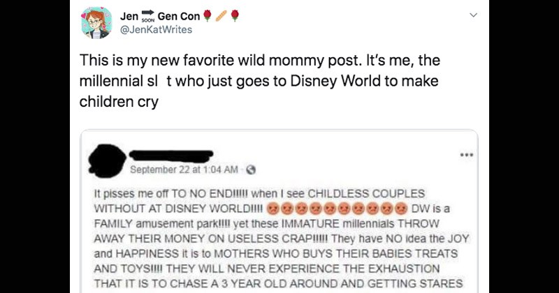twitter childless millennials millennials theme park disney world parenting facebook roast entitled funny tweets disneyland parents - 8910085