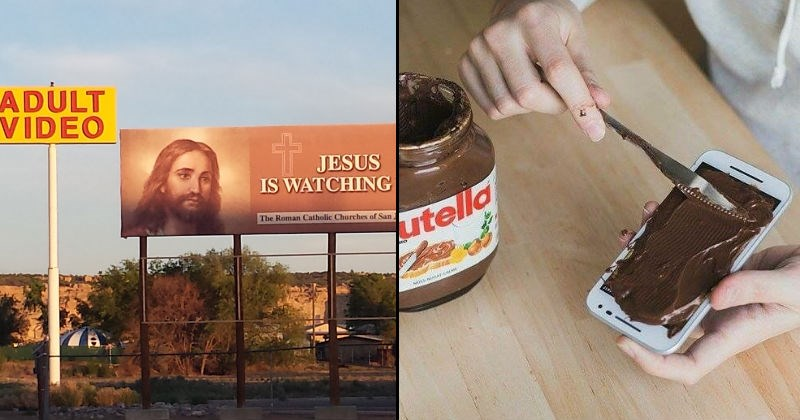 cursed images such as spreading nutella on a phone and sign implying that jesus watches porn