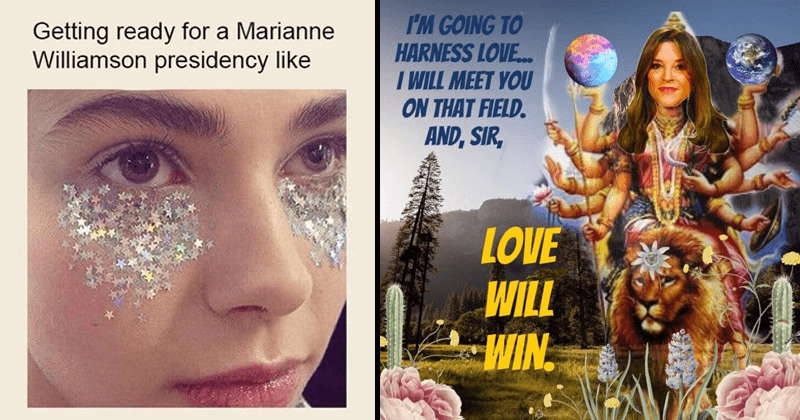 funny memes about 2020 presidential candidate marianne williamson, orb gang, hippie, funny, spiritual.