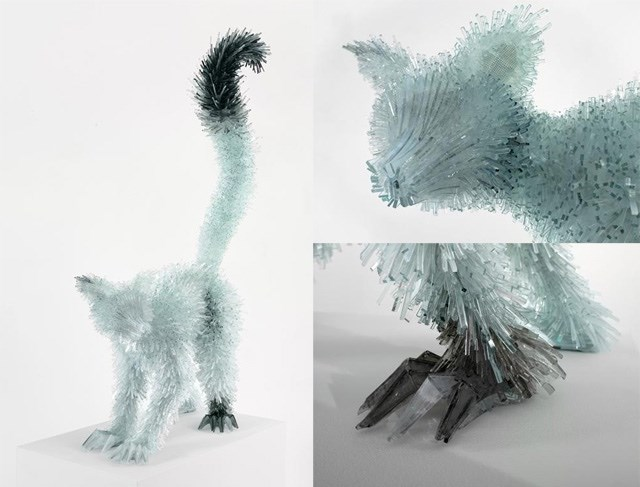 shattered glass animal sculpture