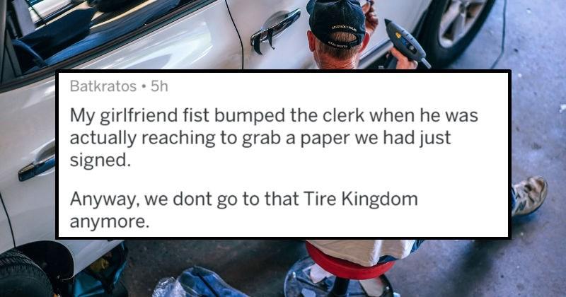 accidentally fist bumping the clerk, askreddit, automobiles, fail, customer service, funny, awkward