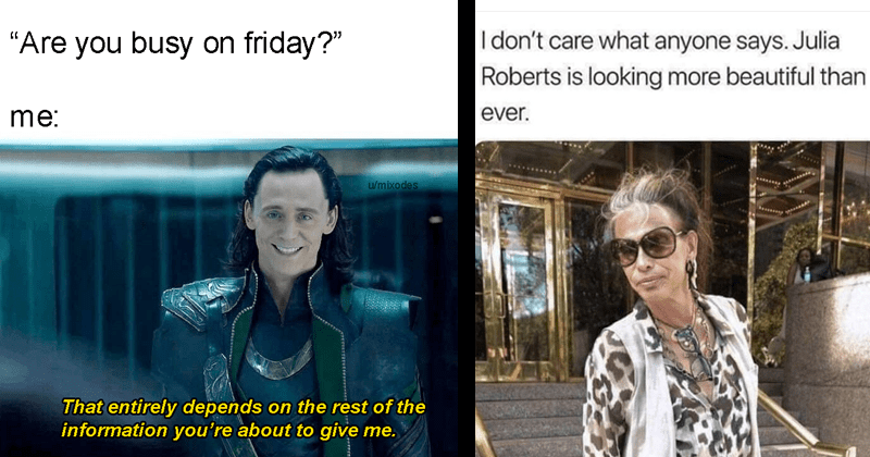 Funny memes, funny web comics, marvel memes, funny tweets, dog memes, cat memes, silly memes, meme with Loki being asked to hang out on a friday night, picture of steven tyler saying he looks like julia roberts.